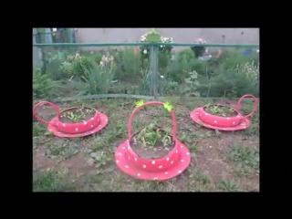 Дачные участки. Поделки сад огород своими руками. Клумбы из покрышек и шин в виде чашек и чайного сервиза