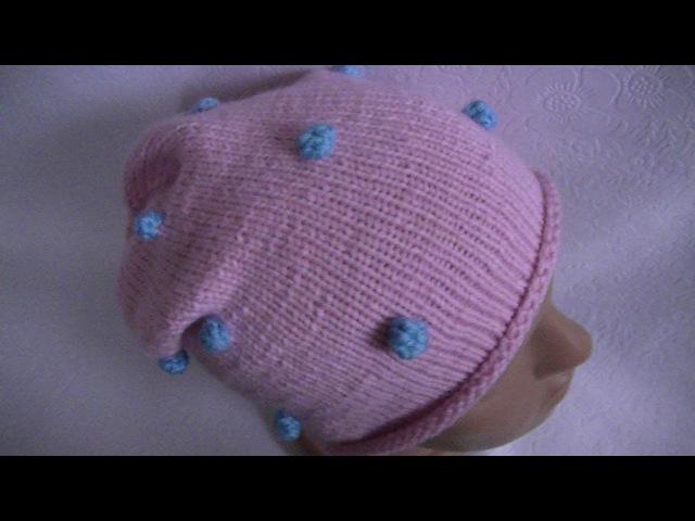 Вязание шапки с разноцветными шишечками