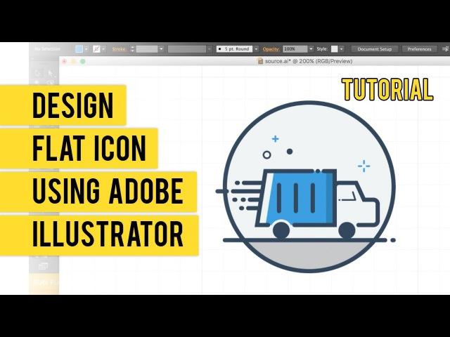 Design Flat Line Icon Menggunakan Adobe Illustrator Timelapse Tutorial
