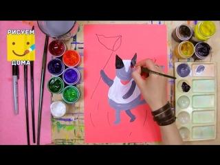 Кот ловит бабочек - урок рисования для детей от 4 лет