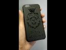 Глянцевая печать на черном матовом чехле на iphone 6/6s