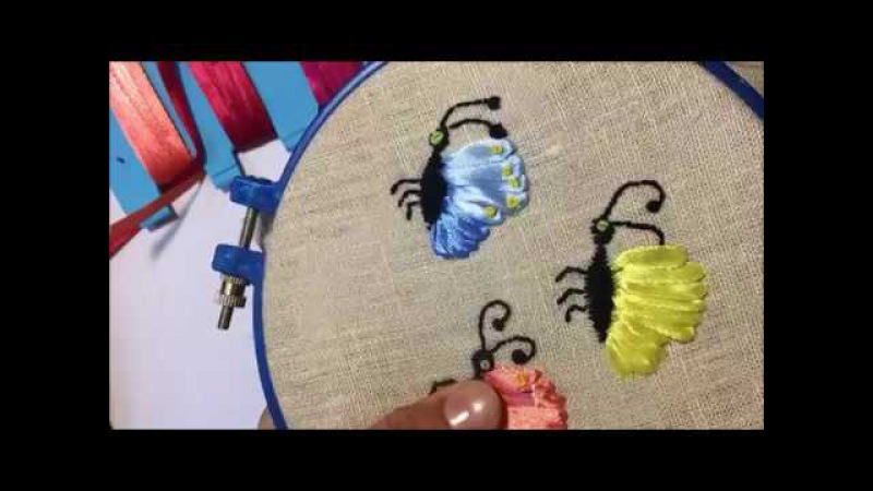 Бабочка вышитая атласными лентами лентами / Embroidered butterfly satin ribbons ribbons