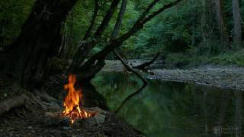 Расслабляющие звуки Костра у реки.,звуки природы. UHD Video 2160p