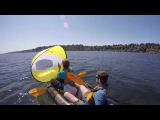 Packraft sailing to Seattle with the bicycle trailer