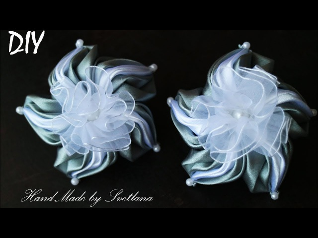 Бантики цветы из лент КАНЗАШИ DIY Bows made of ribbon Kanzashi Laço de Cetim Curva da fita