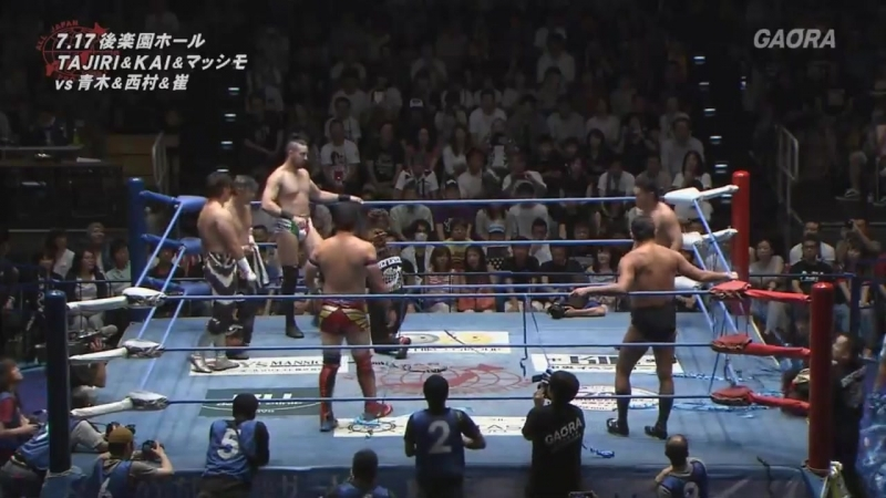 Atsushi Aoki, Osamu Nishimura, Ryouji Sai vs. KAI, Massimo, TAJIRI (AJPW - Summer Action Series 2017 - Day 1)