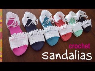 Sandalias tejidas a crochet en 7 tallas/ Tejiendo Per