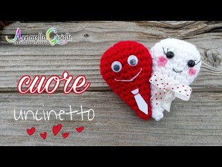 Bomboniera matrimonio ❤ Crochet heart ❤ cuore amigurumi [SUB]