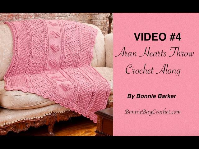 VIDEO 4 Aran Hearts Throw, by Bonnie Barker