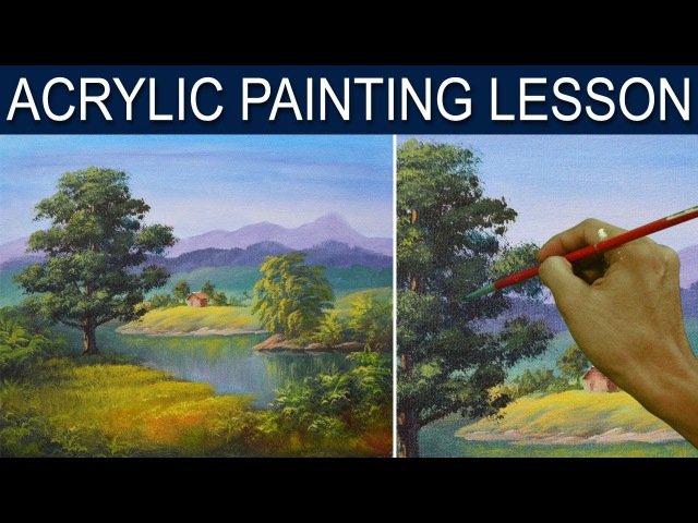 The Big oak Tree Beside The River in Step by Step Easy Acrylic Painting Tutorial by JM Lisondra
