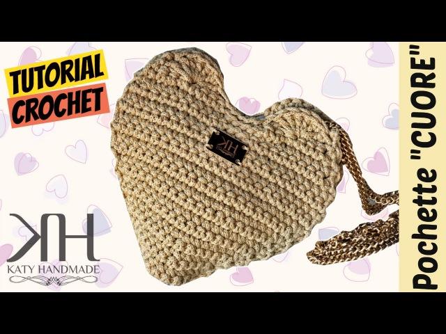 [BORSE] Tutorial uncinetto pochette Cuore | Heart clutch crochet || Katy Handmade