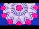 Tapete o carpeta a crochet con flores en punto piñas combinado con puntos garbanzos paso a paso