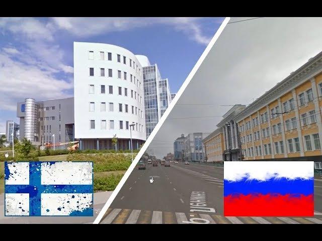 Тампере - Саранск. Сравнение. Финляндия и Россия. Russia - Finland. Suomi - Venäjä