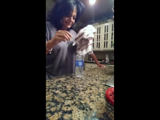 Wife shows her husband hilarious magic trick