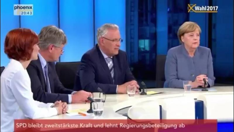 24.09. 2017 Berliner Runde mit Jörg Meuthen AfD, Christian Lindner, Kipping, Merkel und Schulz