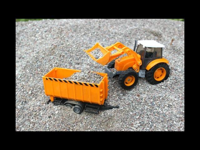 Трактор экскаватор и погрузчик для детей. Детские игрушки машинки. Играем и Копа...