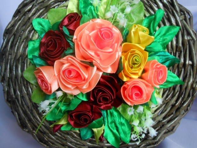 Розы канзаши для шкатулки МК/DIY Roses of Kanzash. Casket