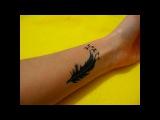 Как Сделать Тату Гелевой Ручкой Перо и Птицы #49  Tattoo gel pen Feather and birds