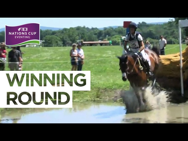 Jennifer Brannigan celebrates at Great Meadow | FEI Nations Cup™ Eventing - The Plains