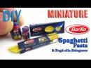 DIY Miniature Barilla Spaghetti Pasta and Bolognese Sauce DollHouse food
