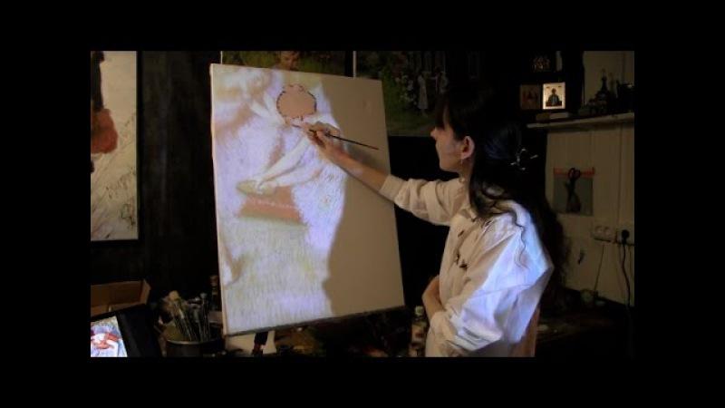 Как работать с проектором, технические приемы в живописи, копируем Э. Дега, 1 часть, Фания Сахарова