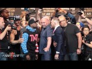 FACE TO FACE! MAYWEATHER & MCGREGOR GO AT IT IN SECOND FACE OFF! face to face! mayweather & mcgregor go at it in second face off