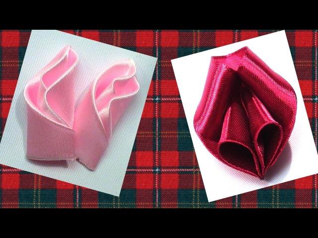 Ribbon flowers petals tutorial, Petals Kanzashi Tatiana Vasyliuk, Лепестки для цветов канзаши мк