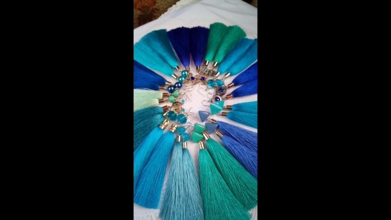 Серьгт-кисточки синих оттенков