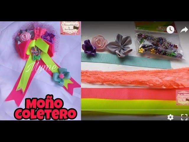 MOÑO COLETERO/ COLORES NEON/ BOWS/LAZOS/TUTORIALES/CINTILLOS/MANUALIDADES