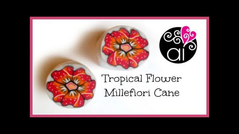 Tropical Flower Cane | Polymer Clay Tutorial | Millefiori Cane | Murrina Fiore Tropicale