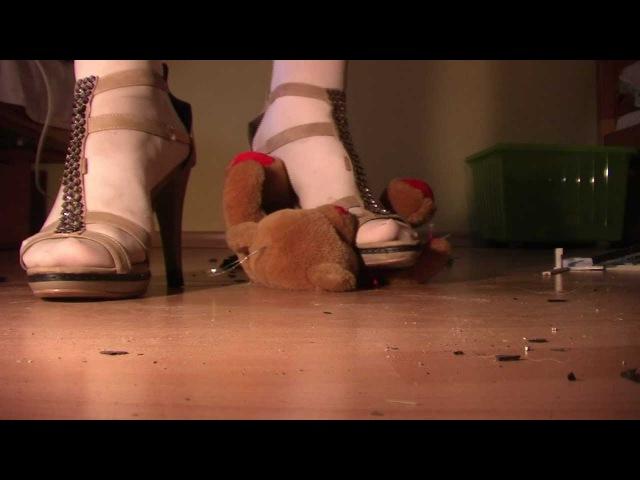 Trample my sweet teddy bear in my high heels