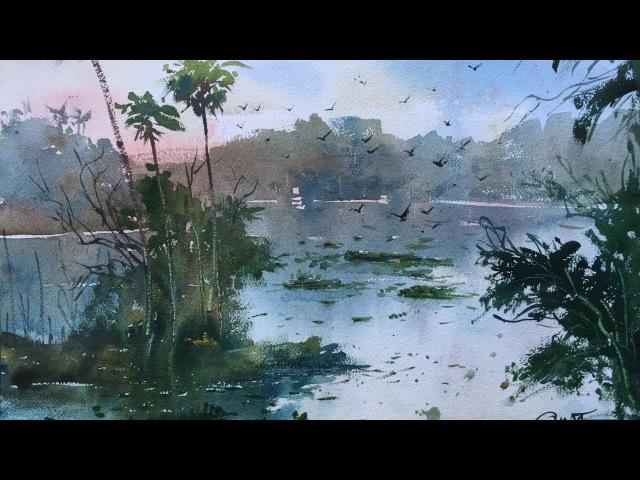 Powai Lake in watercolor by prashant Sarkar - 21/01/2017