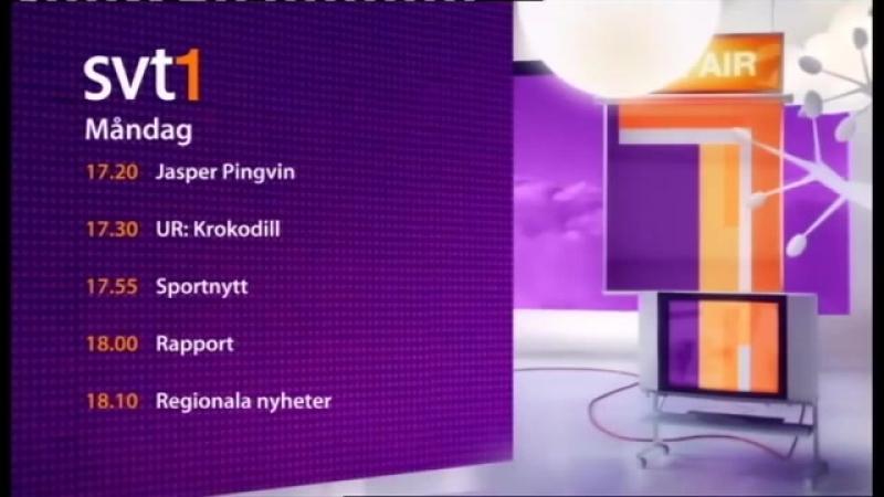 Анонсы, заставки, программа передач и концовка новостей (SVT1 [Швеция], 25.08.2008)