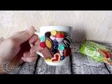 Кружка с ягодами и конфетами из полимерной глины _ Cup with berries and candy. P
