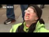Liberal Protester screams in agony as Trump sworn in