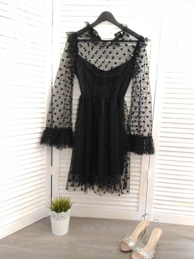Черное платье в горошек из магазина Ahagaga