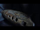 Handbuilt clay Fish 6-hole ocarina, double milk firing, unique