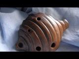 Handbuilt clay Hive 4-hole ocarina, double milk firing, unique musical instrument