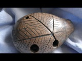Handbuilt clay Maple leaf 5-hole ocarina, double milk firing, unique musical instrument