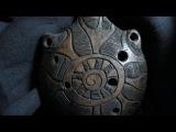 Handbuilt clay Shamanic 6-hole ocarina, double milk firing