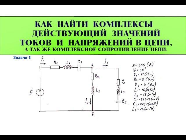 Цепи переменного тока. Комплексные значения сопротивлений, токов и напряжений в цепи. Задача 1