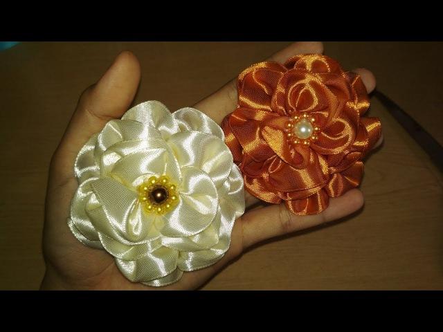 DIY || Membuat bunga dari pita satin /How to make Ribbon Flower Rose 03 🌸 - Lista Tsurayya Tutorial