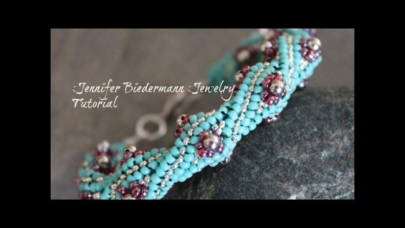 Twisted herringbone flower bud bracelet tutorial