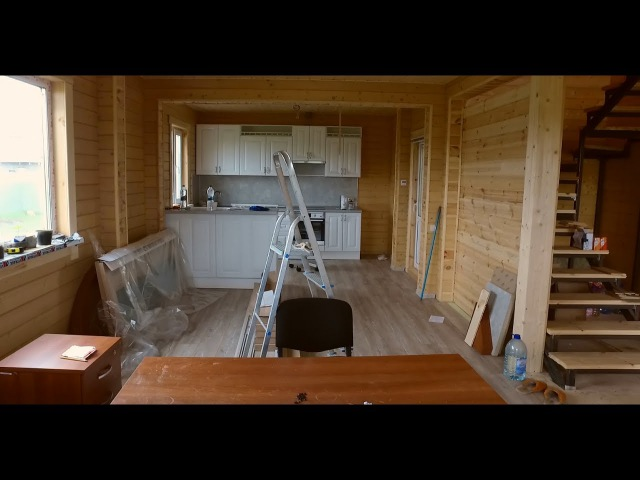 Обзор дома из двойного бруса изнутри, проект Жизнь-100
