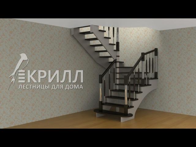 3D проект деревянной лестницы на косоурах с забежными ступенями