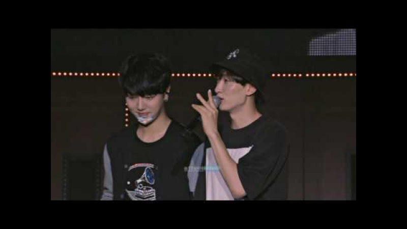 Siwon and Eunhyuk @ KRY in Seoul MENT Birthday Message Cake on Face