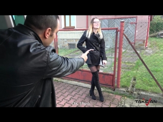 [TakeVan] Samanta - Black Stockings Barmaid [Car-Sex,Blonde,Natural tits,Hardcor