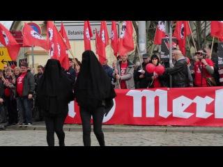germany halle protesters chant heil merkel as