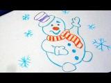Как нарисовать новогодний рисунок Снеговик How to draw a Christmas picture for children Snowman