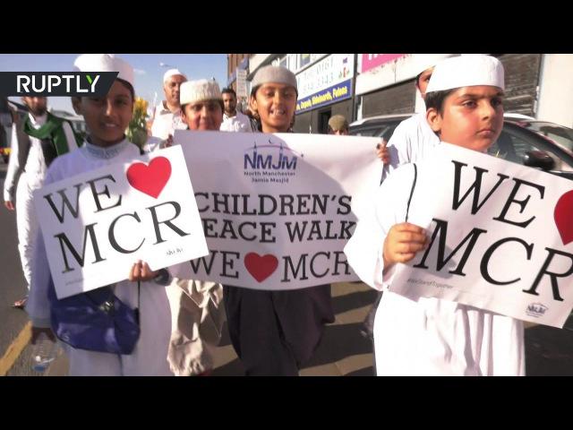Мусульмане Манчестера провели марш в память о жертвах теракта на стадионе. 27.05.2017.